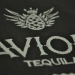 Avion Tequila on sample fabric