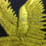 Eagle metallic thread on patch close-up
