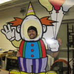 Life-size party photo clown