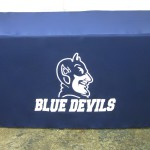 Blue Devils trade show table cloth