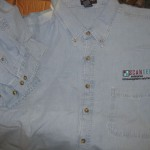 Denim shirts with logo, $1/ea, or all 12 for $6: 6-XL, 2-XXL, 4-XXXL