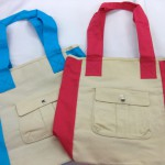 Canvas Bags, $3 each plus screen print. Lined with pockets.
